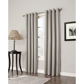 allen + roth Bandley 84-in Sand Polyester Blackout Single Curtain Panel