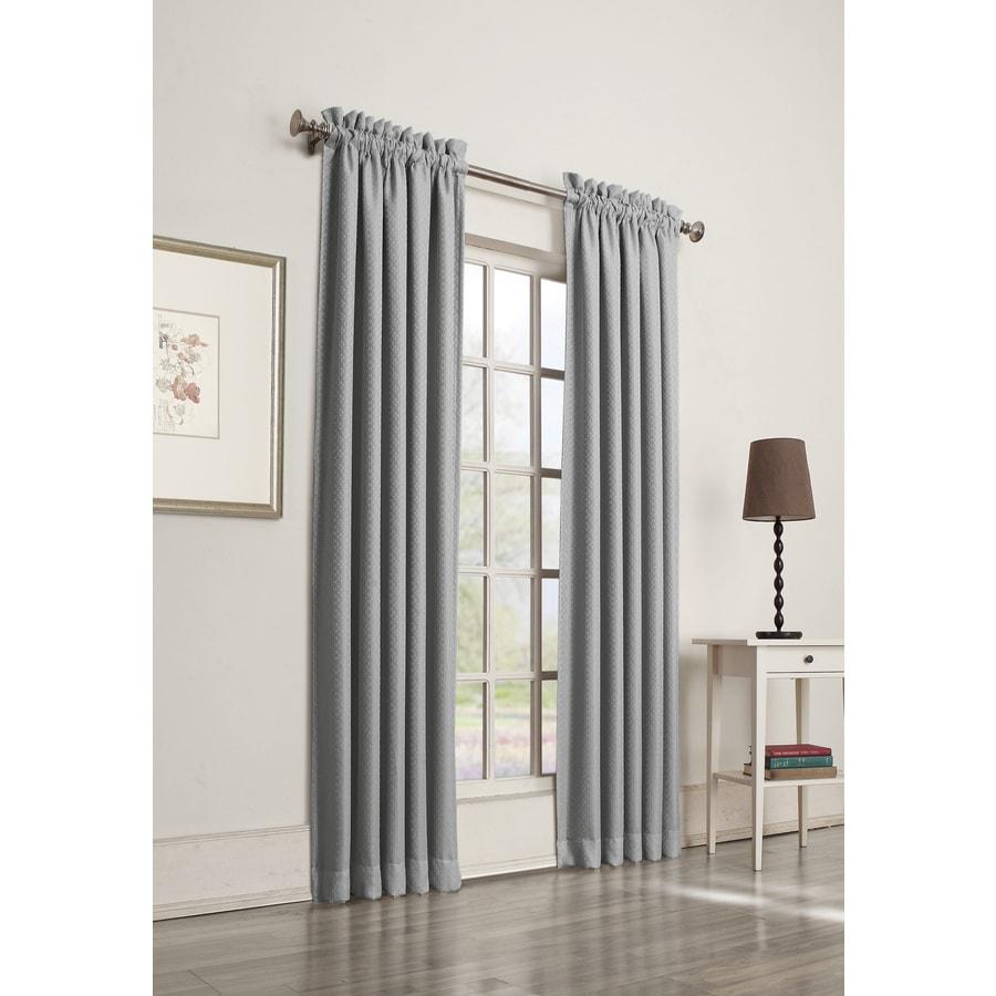 allen + roth Guestling 84-in Slate Polyester Rod Pocket Room Darkening Single Curtain Panel
