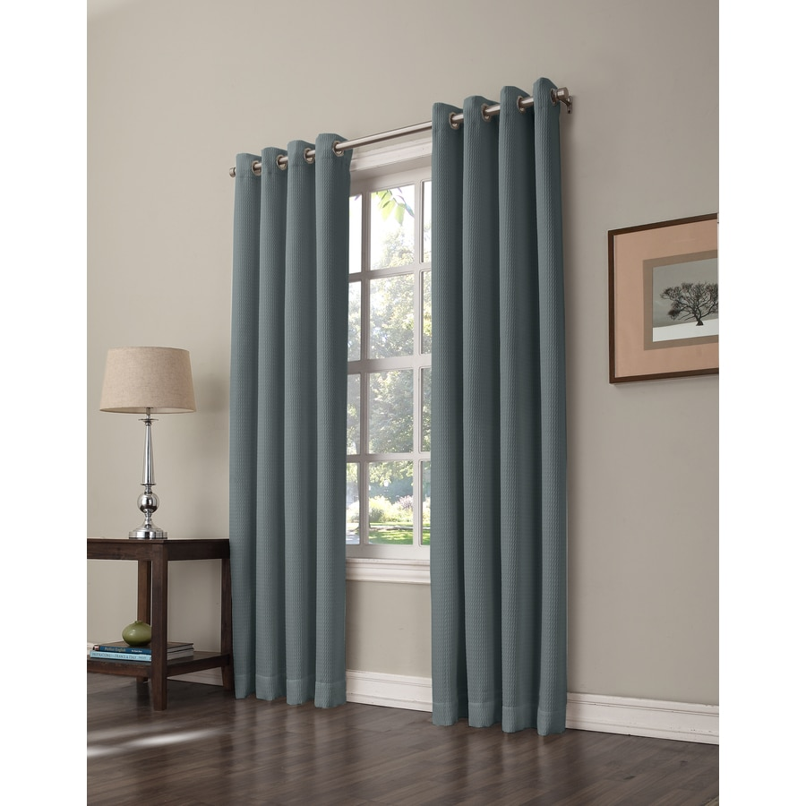allen + roth Romanby 84-in Sky Blue Polyester Grommet Room Darkening Single Curtain Panel