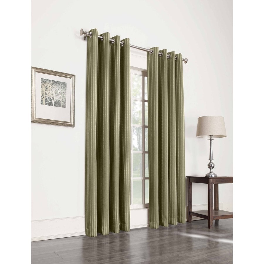 allen + roth Withern 95-in Olive Polyester Grommet Blackout Single Curtain Panel