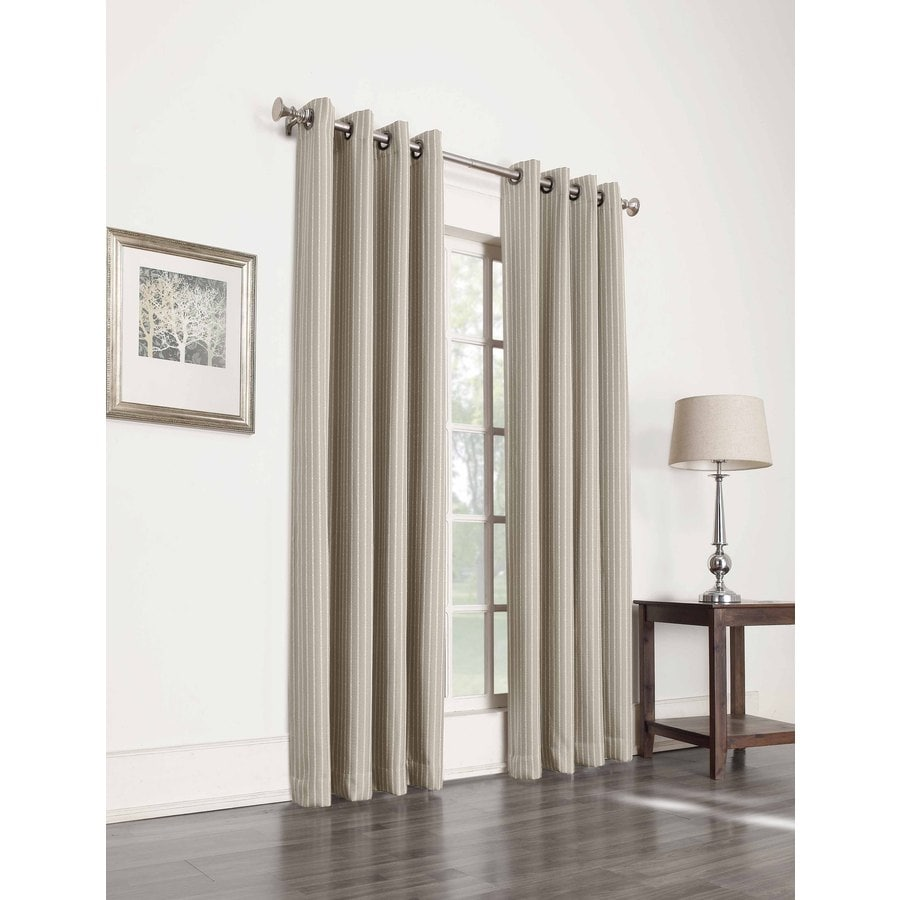 allen + roth Withern 95-in Straw Polyester Grommet Blackout Single Curtain Panel