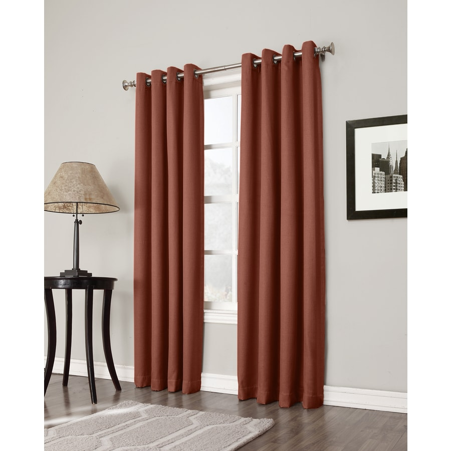 allen + roth Bandley 63-in Brick Polyester Grommet Blackout Single Curtain Panel