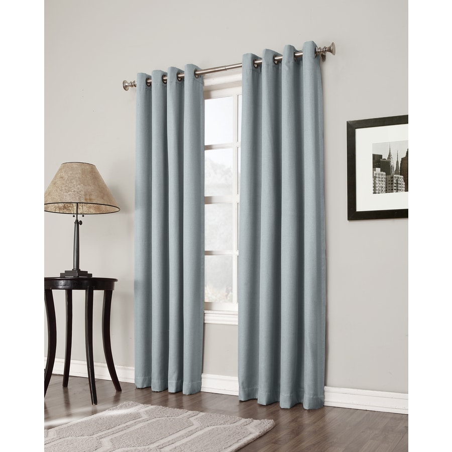 allen + roth Bandley 63-in Sky Blue Polyester Grommet Blackout Single Curtain Panel
