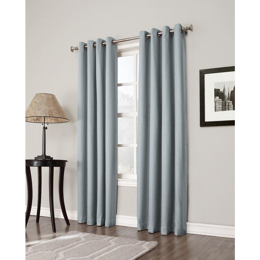 allen + roth Bandley 95-in Sky Blue Polyester Grommet Blackout Single Curtain Panel