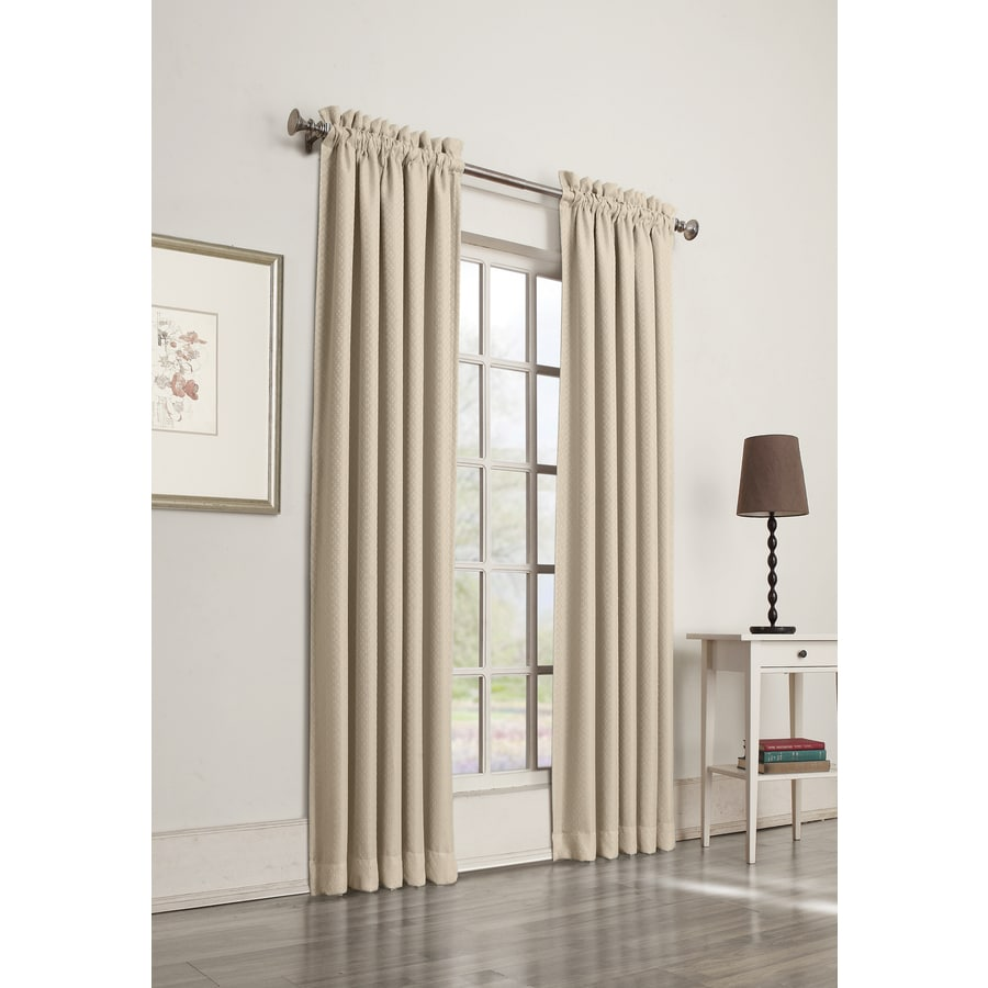 allen + roth Guestling 63-in Ivory Polyester Rod Pocket Room Darkening Single Curtain Panel