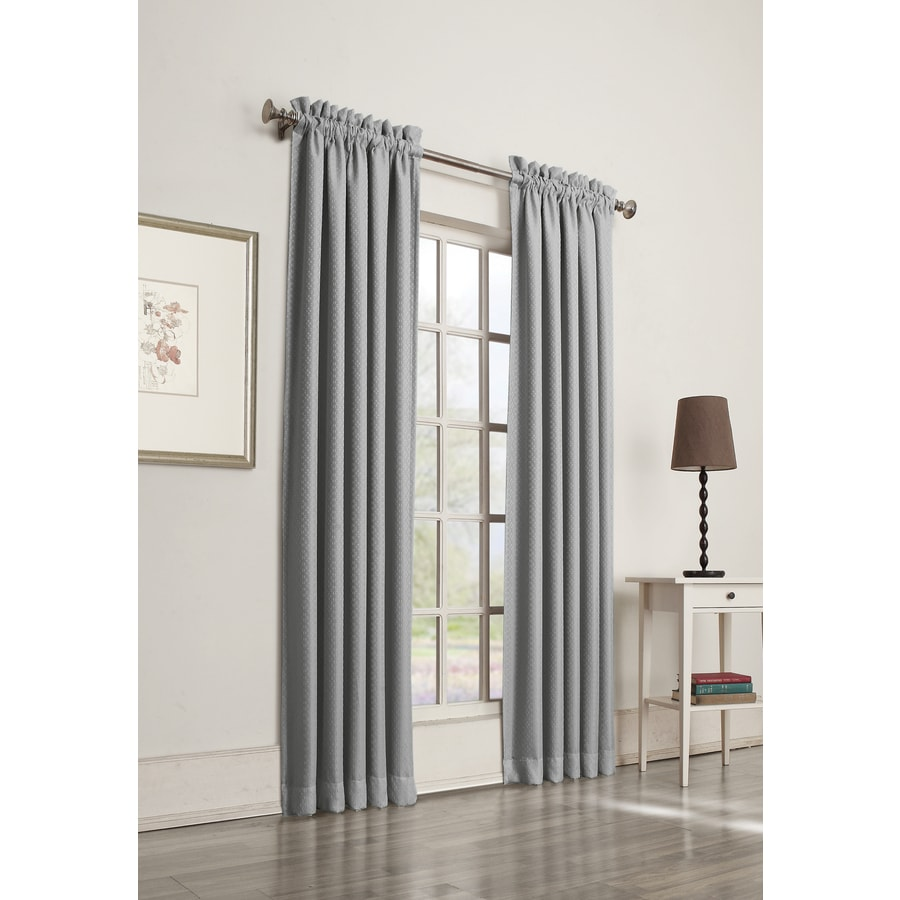 allen + roth Guestling 95-in Slate Polyester Rod Pocket Room Darkening Single Curtain Panel