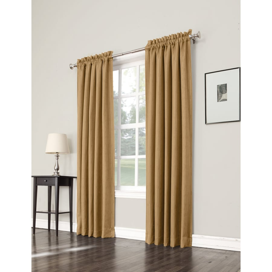 allen + roth Earnley 63-in Gold Polyester Rod Pocket Room Darkening Single Curtain Panel