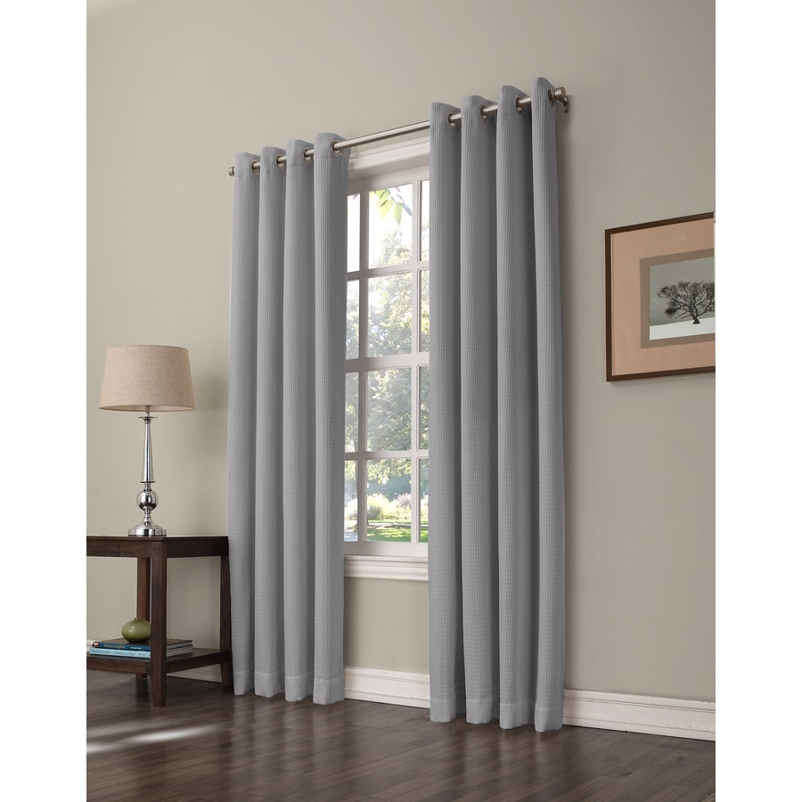 allen + roth Romanby 95-in Onyx Polyester Grommet Room Darkening Single Curtain Panel