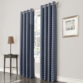 allen + roth Taventry 84-in Blue Polyester Room Darkening Single Curtain Panel
