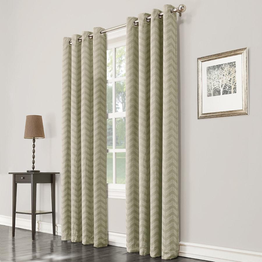 allen + roth Taventry 84-in Green Polyester Grommet Room Darkening Single Curtain Panel