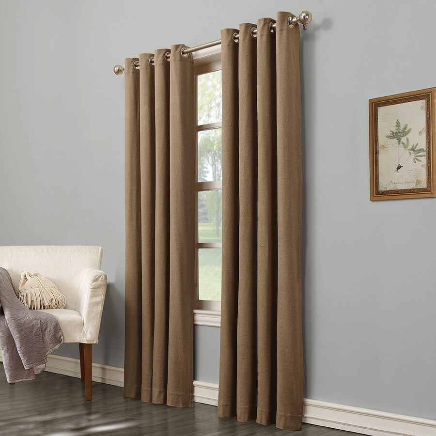 Shop allen roth hesket 84 in brown polyester grommet for Grommet curtains