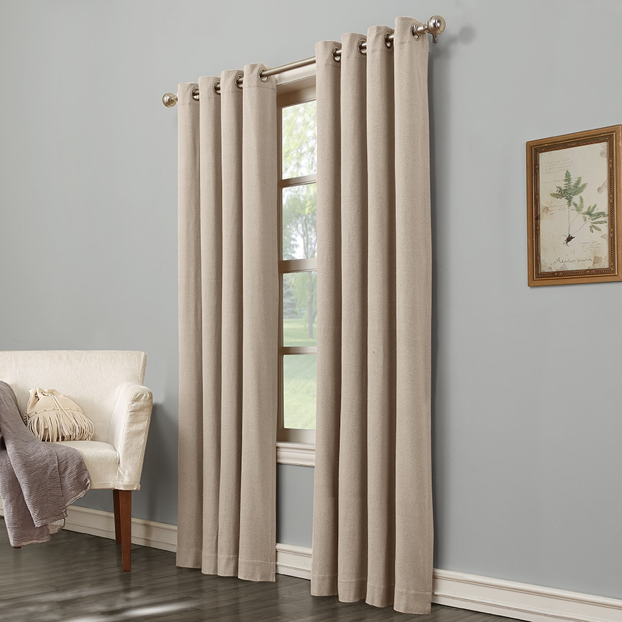 allen + roth Hesket 84-in Neutral Polyester Grommet Light Filtering Single Curtain Panel