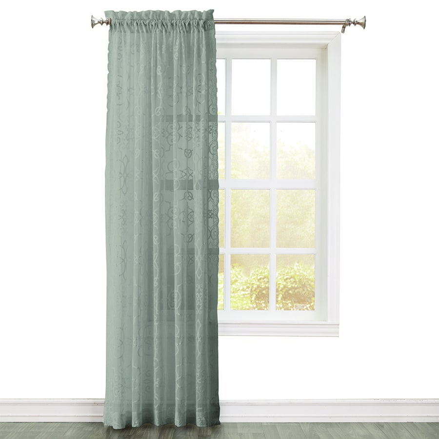 Style Selections Velez 84-in Grey Polyester Rod Pocket Light Filtering Single Curtain Panel