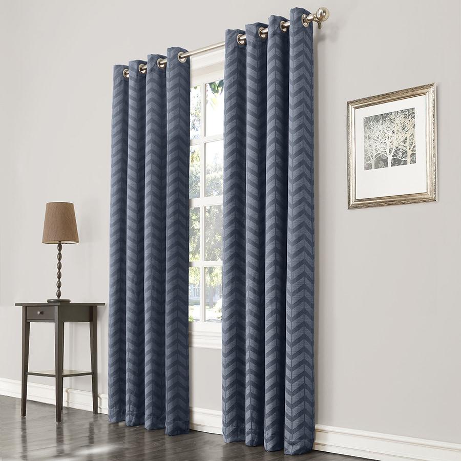 allen + roth Taventry 63-in Blue Polyester Grommet Room Darkening Single Curtain Panel