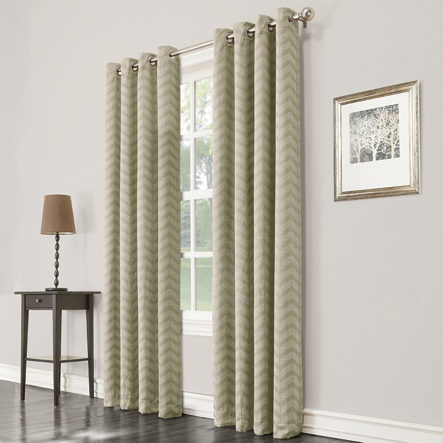 allen + roth Taventry 63-in Green Polyester Grommet Room Darkening Single Curtain Panel