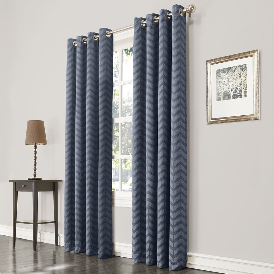 allen + roth Taventry 95-in Blue Polyester Grommet Room Darkening Single Curtain Panel