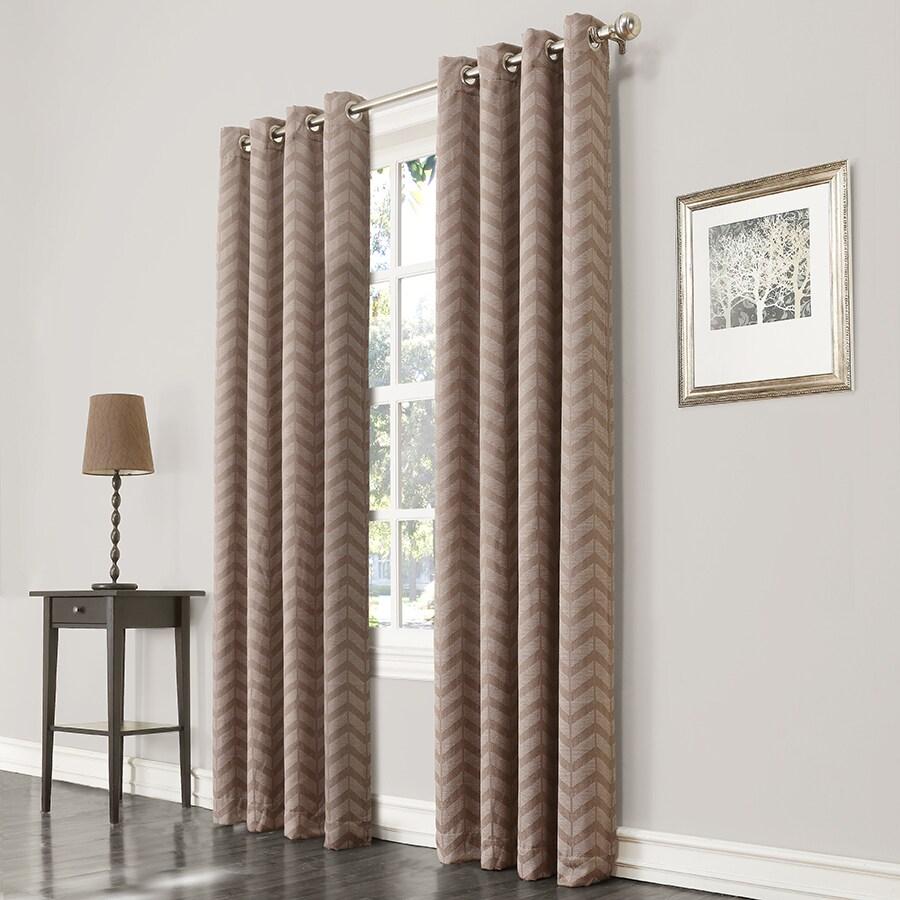 allen + roth Taventry 95-in Linen Polyester Grommet Room Darkening Single Curtain Panel