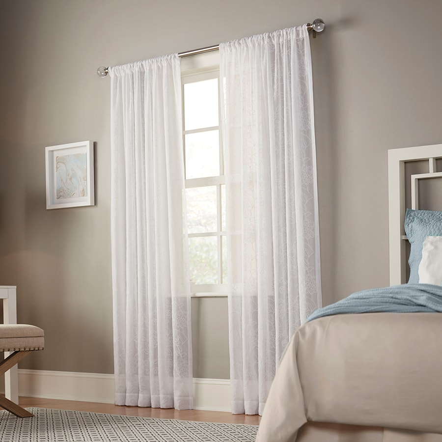 Sheer white bedroom curtains - Allen Roth Linchmere Polyester Rod Pocket Sheer Single Curtain Panel