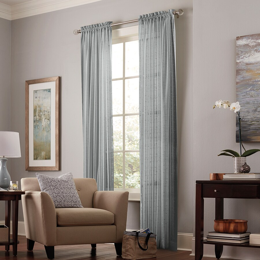 allen + roth Williamston 95-in Grey Polyester Rod Pocket Sheer Single Curtain Panel