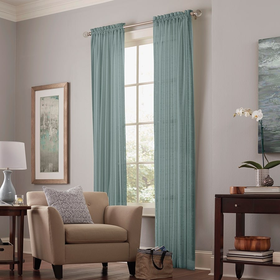 allen + roth Williamston 84-in Mineral Polyester Rod Pocket Sheer Single Curtain Panel
