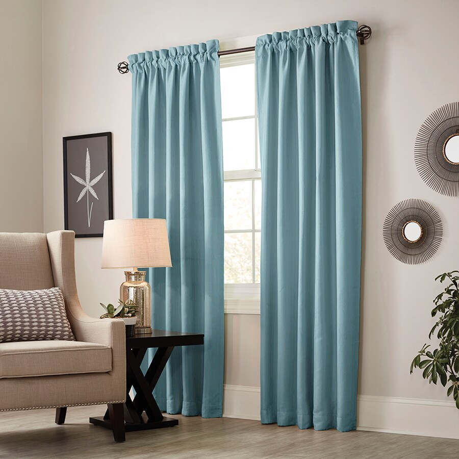 allen + roth Earnley 95-in Teal Polyester Rod Pocket Blackout Thermal Lined Single Curtain Panel
