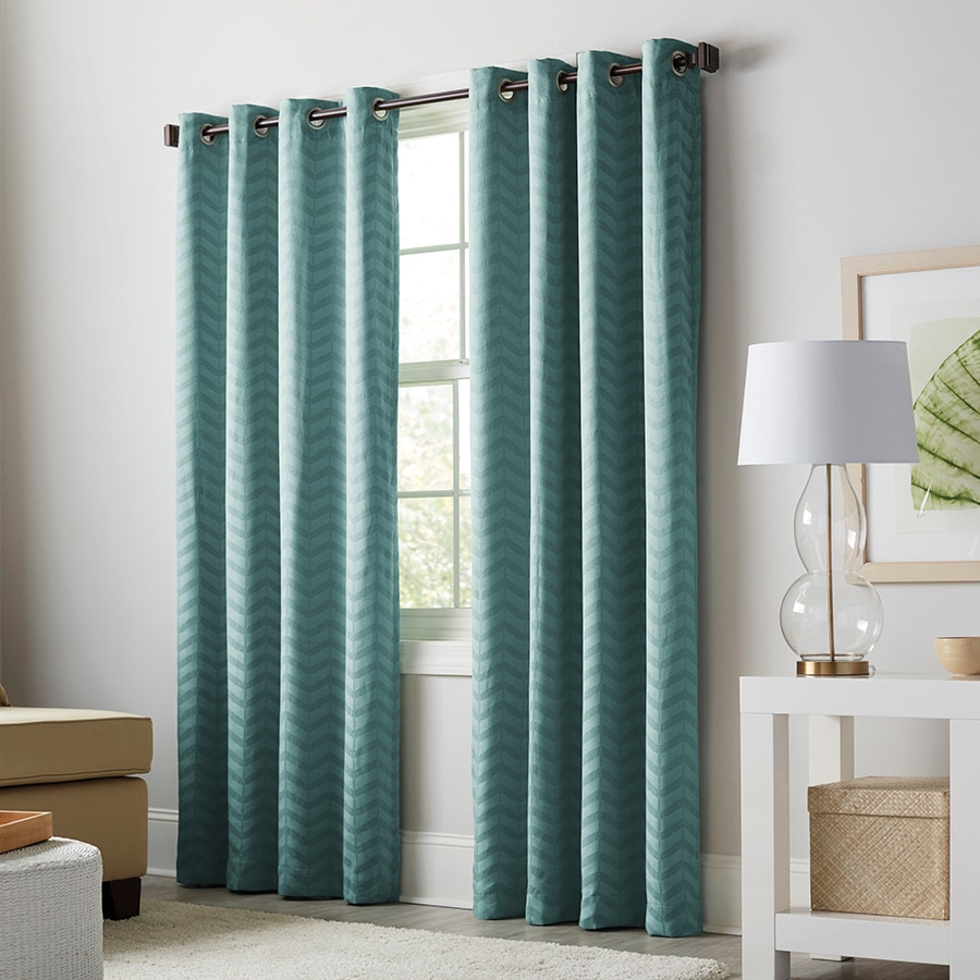 Shop Allen Roth Taventry 63 In Mineral Polyester Grommet Blackout Thermal Lined Single Curtain