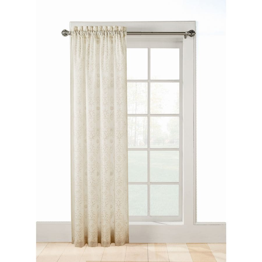 allen + roth Jana 63-in Ivory Polyester Rod Pocket Sheer Standard Lined Single Curtain Panel