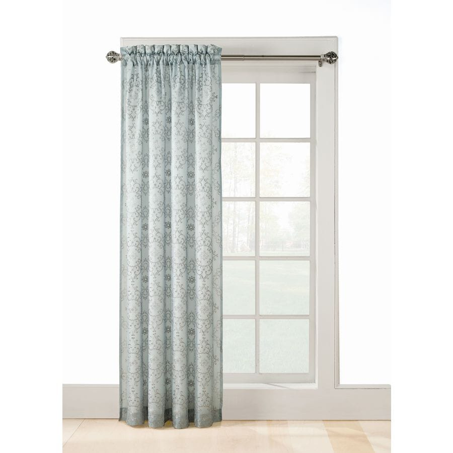 allen + roth Jana 63-in Mineral Polyester Rod Pocket Sheer Standard Lined Single Curtain Panel