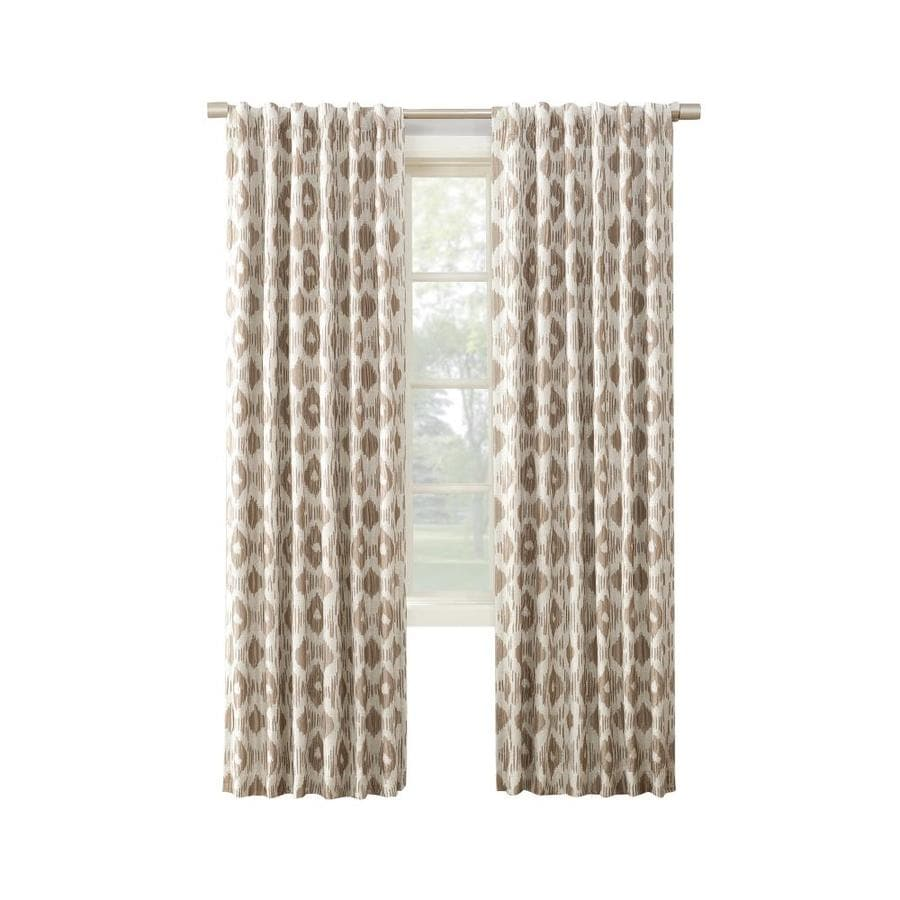 allen + roth GALTON 63-in Mocha Polyester Back Tab Blackout Thermal Lined Single Curtain Panel