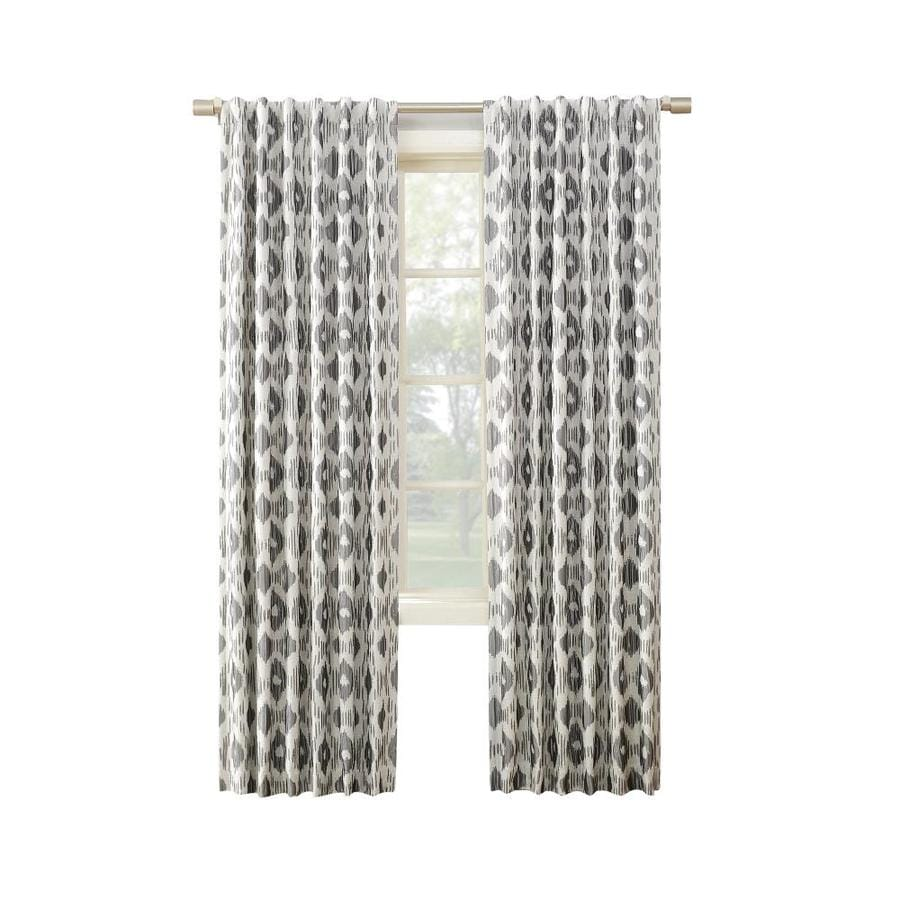 allen + roth GALTON 95-in Grey Polyester Back Tab Blackout Thermal Lined Single Curtain Panel
