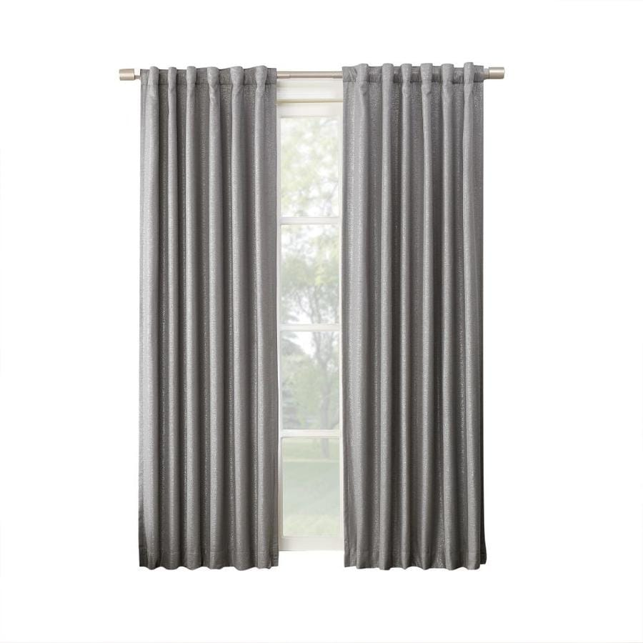 allen + roth AUSTER 63-in Silver Polyester Back Tab Blackout Thermal Lined Single Curtain Panel