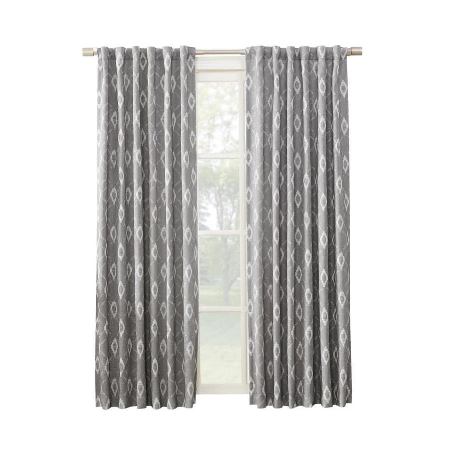 allen + roth HELINA 63-in Grey Polyester Back Tab Room Darkening Thermal Lined Single Curtain Panel