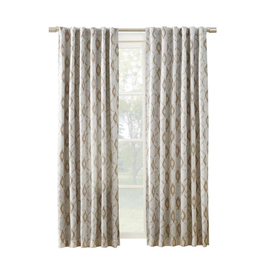 allen + roth HELINA 95-in Linen Polyester Back Tab Room Darkening Thermal Lined Single Curtain Panel
