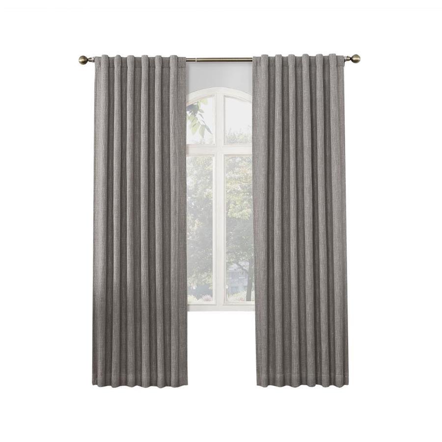 allen + roth GLENNSTON 63-in Grey Polyester Back Tab Room Darkening Thermal Lined Single Curtain Panel