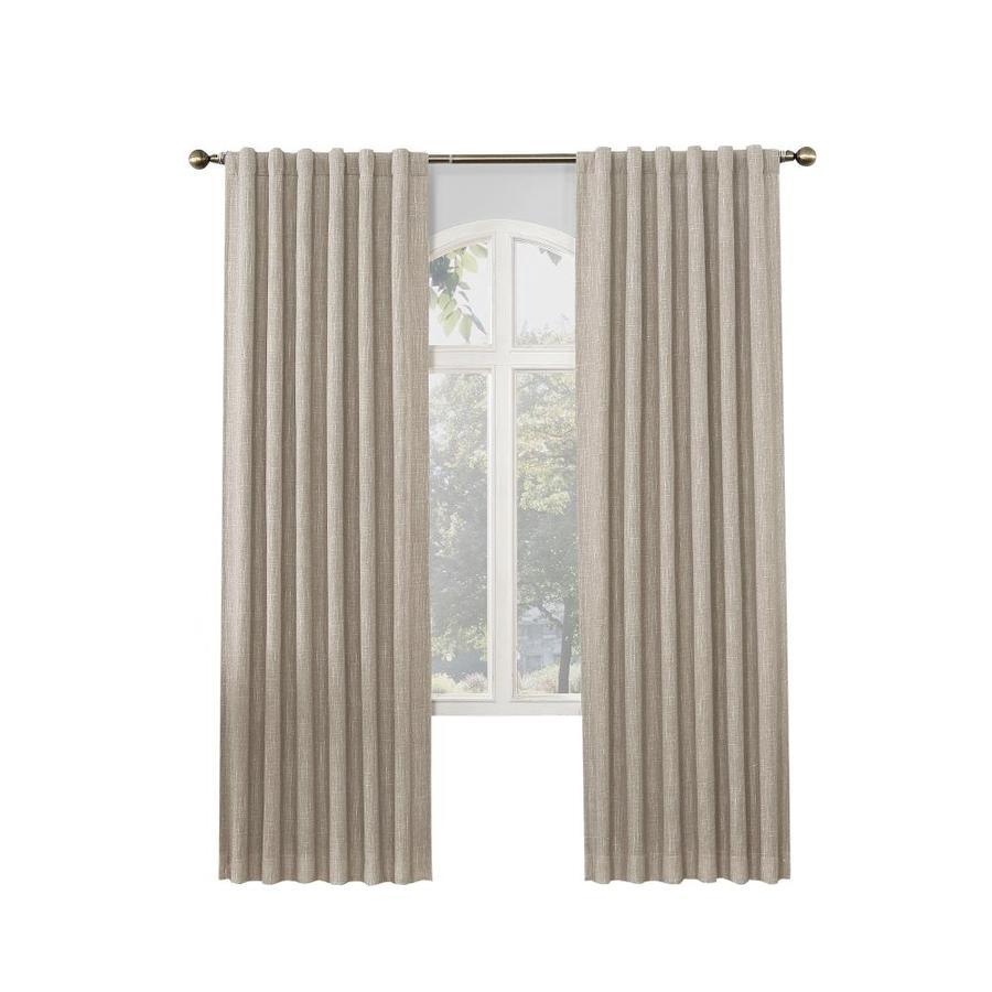 allen + roth GLENNSTON 95-in Linen Polyester Back Tab Room Darkening Thermal Lined Single Curtain Panel