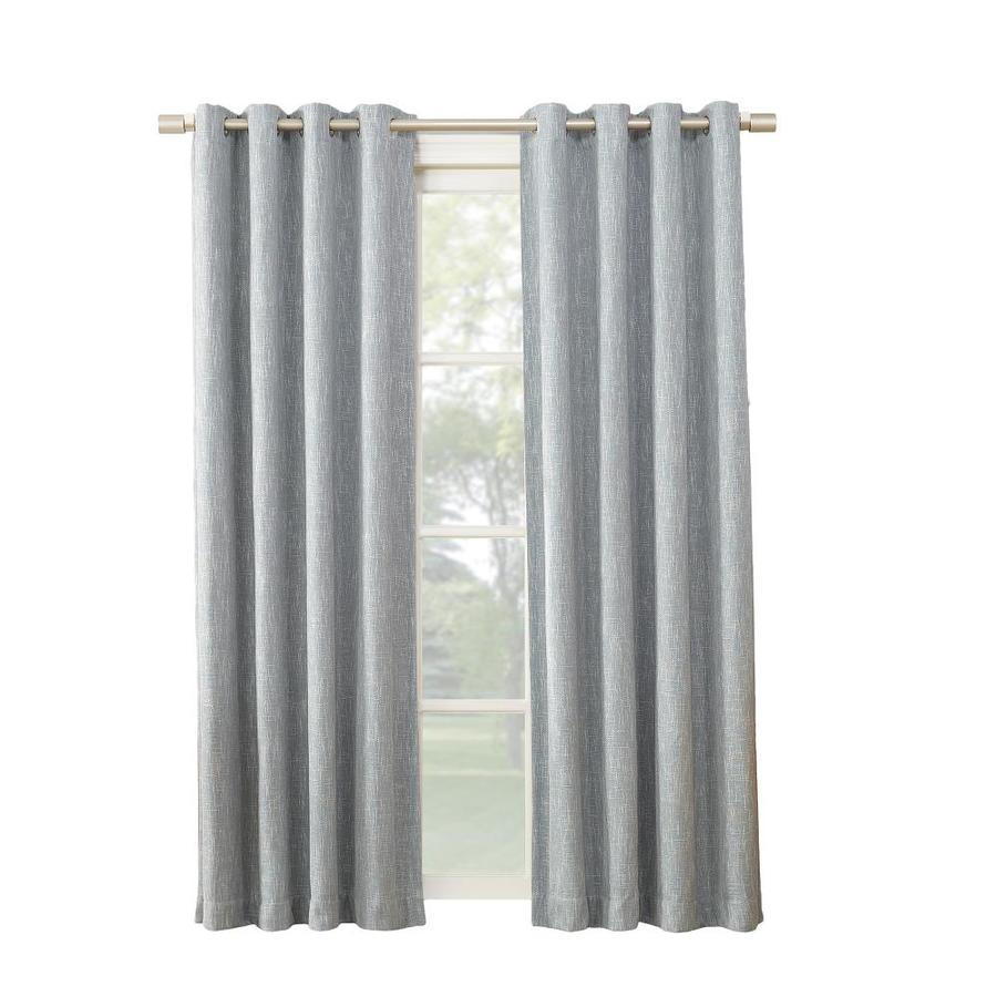 allen + roth PIERSTON 63-in Dusty Blue Polyester Grommet Blackout Thermal Lined Single Curtain Panel