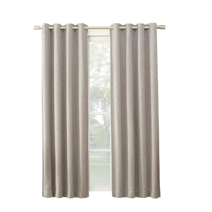allen + roth PIERSTON 63-in Stone Polyester Grommet Blackout Thermal Lined Single Curtain Panel