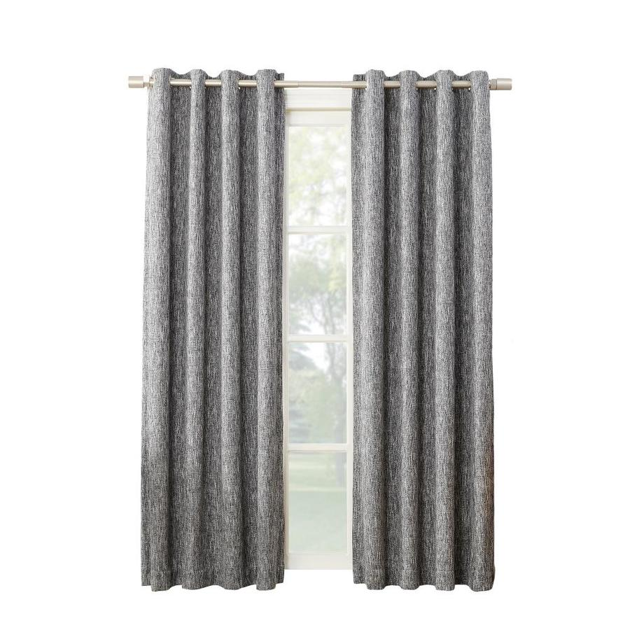 allen + roth PIERSTON 95-in Coal Polyester Grommet Blackout Thermal Lined Single Curtain Panel