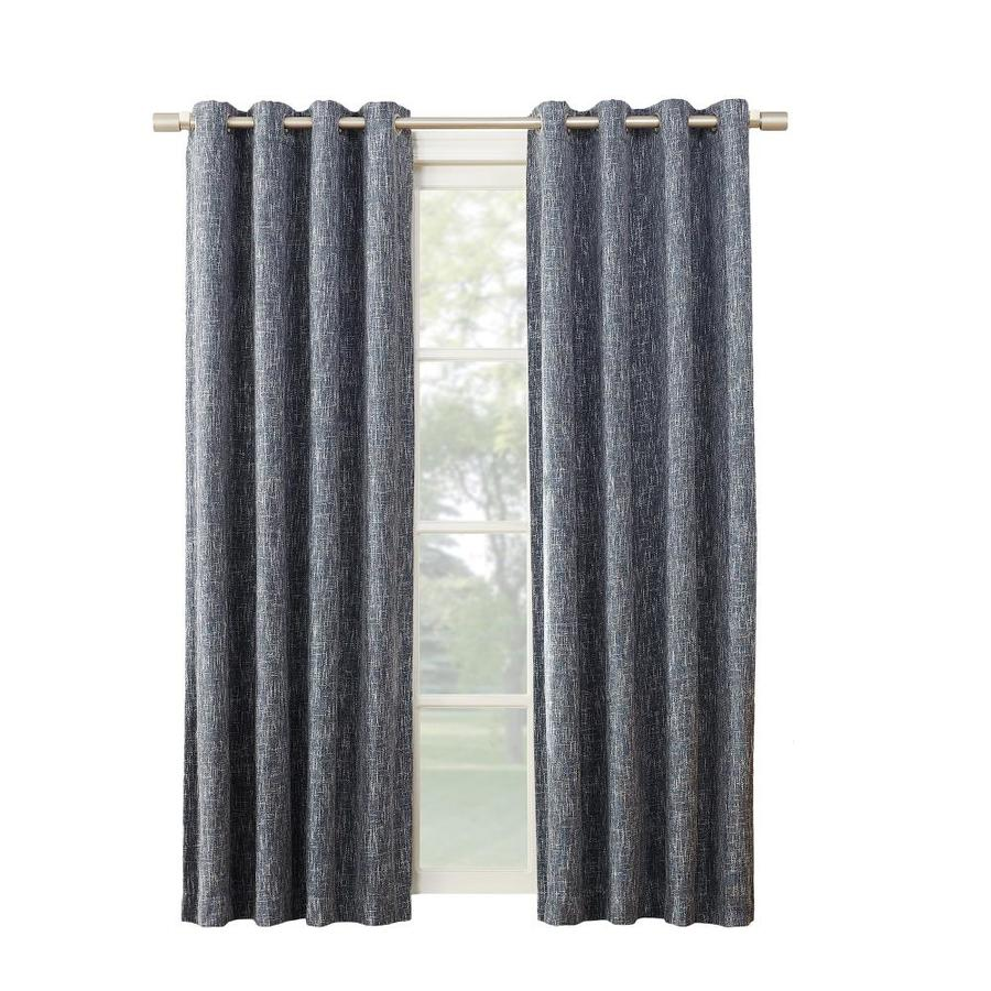 allen + roth PIERSTON 95-in Indigo Polyester Grommet Blackout Thermal Lined Single Curtain Panel