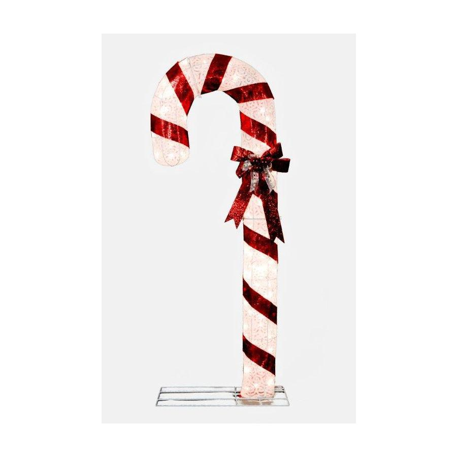 Holiday Living 5-ft Fabric White Scroll Candy Christmas Cane with 100 Lights