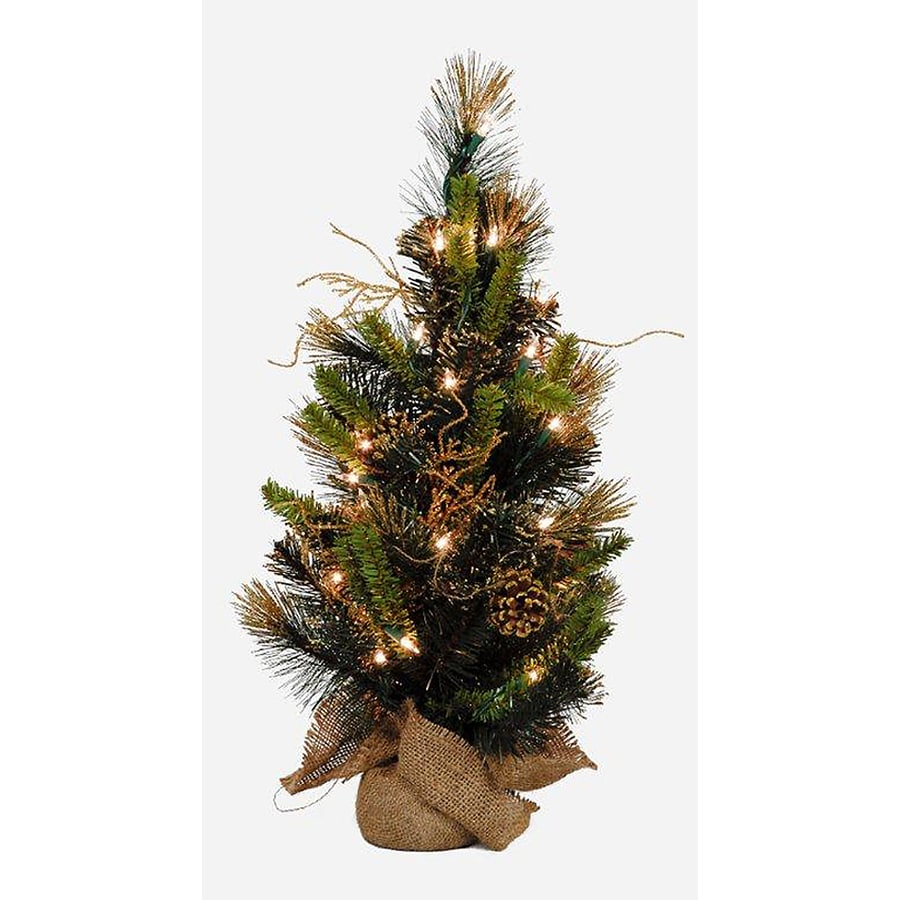 Shop Holiday Living 2-ft Indoor Pine Pre-Lit Artificial Christmas ...