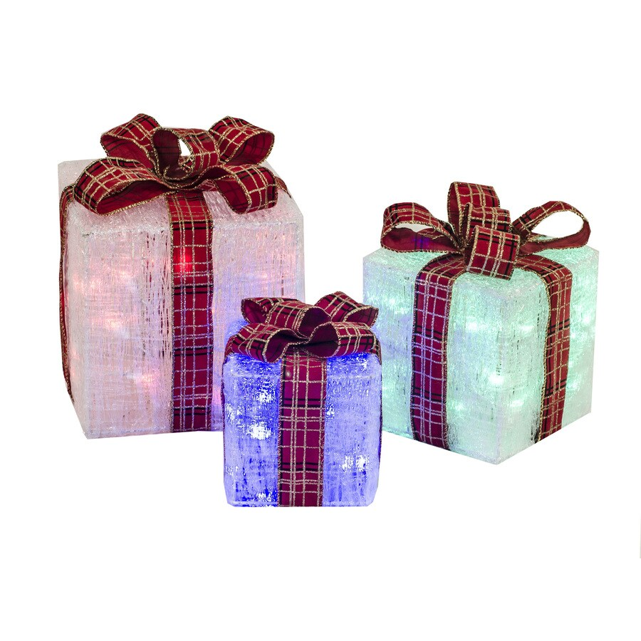 Holiday Living Pre-Lit Gift Box Sculpture with Multi-Function Multicolor Lights