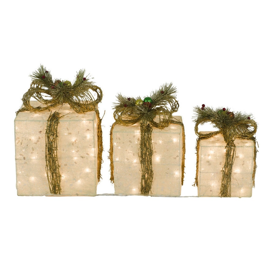 Holiday Living Pre-Lit Gift Box Sculpture with Constant Clear Lights