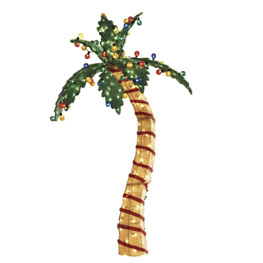 holiday living pre lit palm tree sculpture with constant clear white incandescent lights - Palm Tree Christmas Decorations