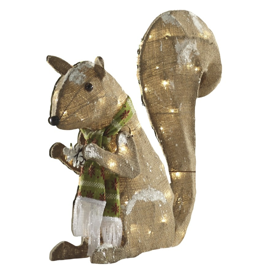 Shop holiday living pre lit squirrel with constant clear for Home hardware outdoor christmas decorations