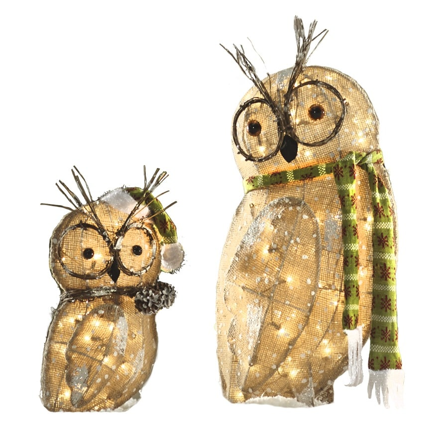 Shop Holiday Living Pre-Lit Owl with Constant Clear White ...