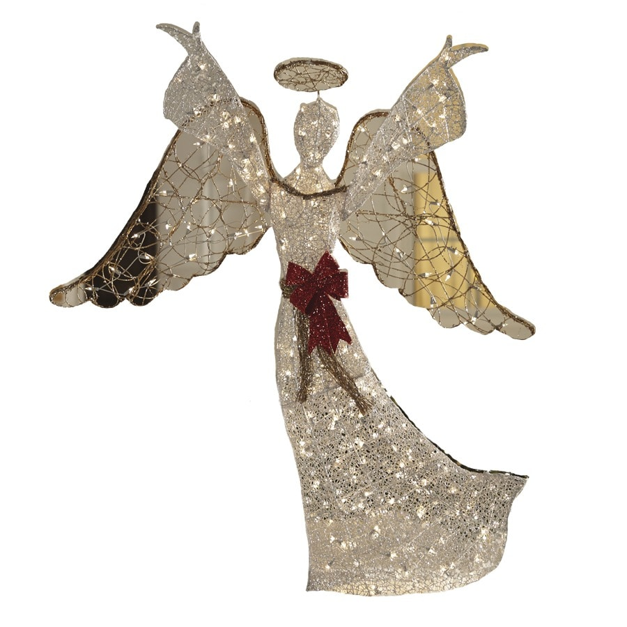 Shop holiday living pre lit angel with constant clear for Angel outdoor decoration