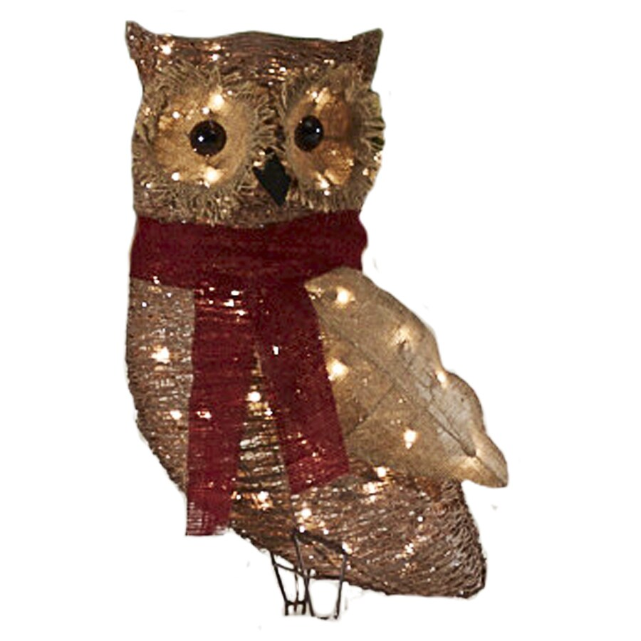 holiday living pre lit owl sculpture with constant clear white incandescent lights