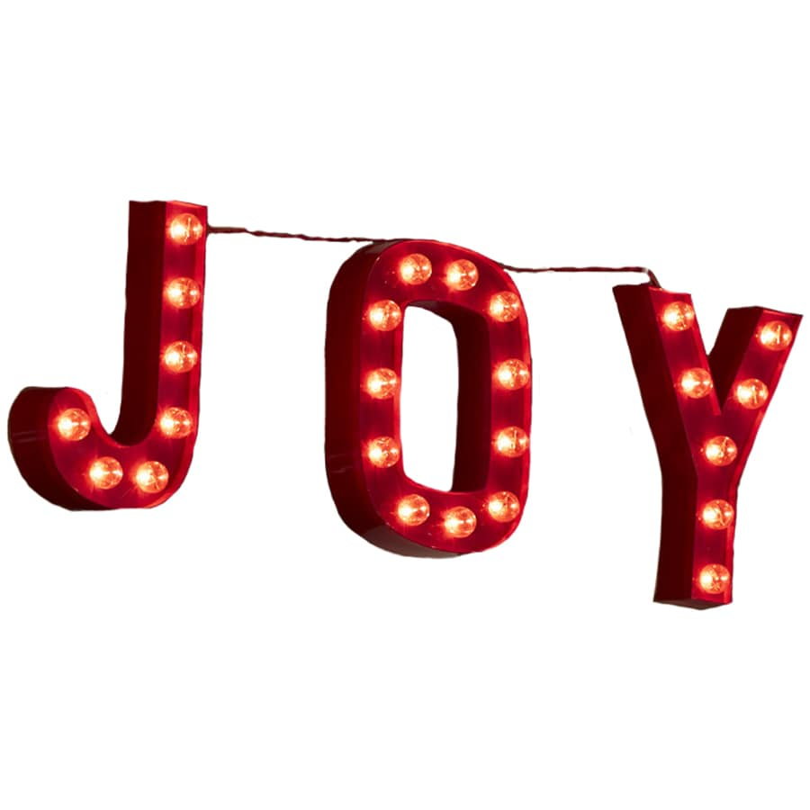 Holiday Living Pre Lit Joy Sign With Constant Clear White