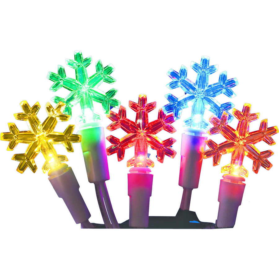 Holiday Living 60-Count 19.67-ft Constant Multicolor Snowflake LED Plug-in Indoor/Outdoor Christmas String Lights ENERGY STAR